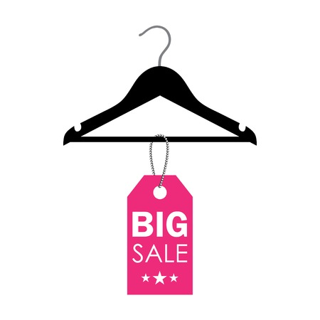 vector illustration of a hanger with sale label