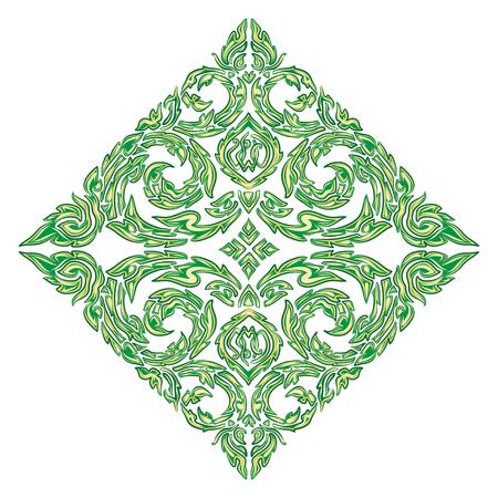 vector illustration of traditional green Thai ornament Stock Vector - 71391732