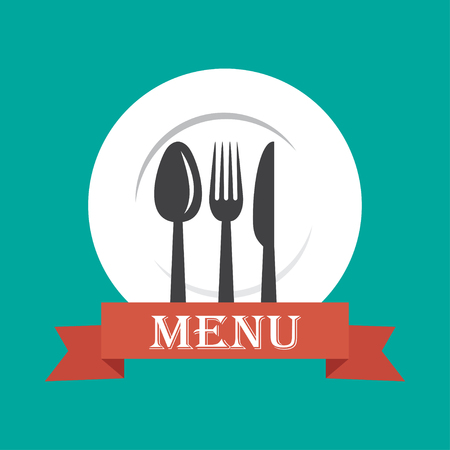 vector illustration of menu cover with spoon, fork and knife. EPS Illustration