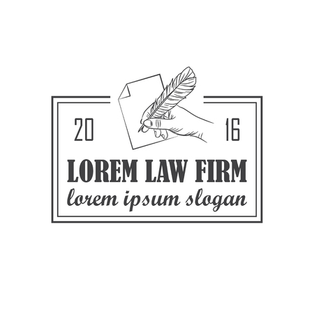 law office: vector law office logo with hand and feather. EPS