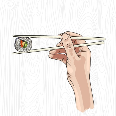 vector illustration of a hand holding sushi roll with chopsticks. EPS Illustration