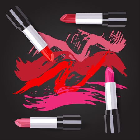 vector illustration of four lipsticks in different colors. EPS