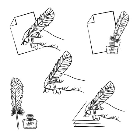 poet: vector set of five illustrations with hand holding feather pen, paper sheet and ink pot. EPS