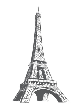 vector illustration of eiffel tower drawn in sketch style. EPS