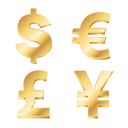 vector illustration of four currency signs in gold. EPS