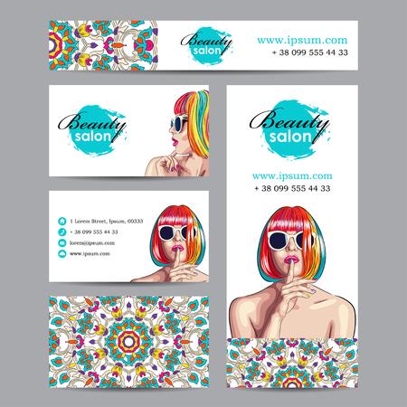 Vector schoonheidssalon kaart met vrouw draagt kleurrijke pruik. EPS