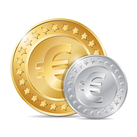 euro sign: vector illustration of two coins with euro sign. EPS Illustration