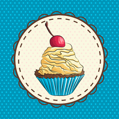 vector illustration of hand drawn cupcake with cherry on top. EPS Illustration