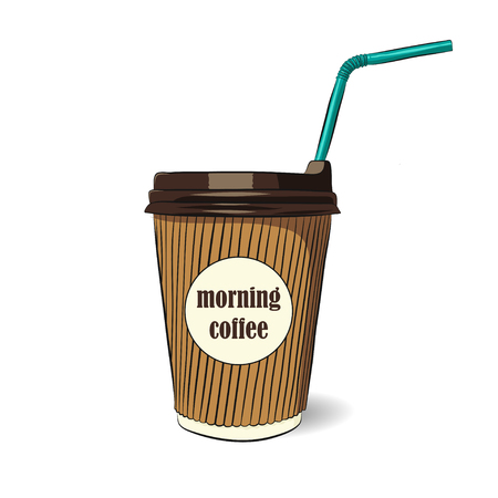 vector illustration of coffee cup for take out with tube. EPS Illustration
