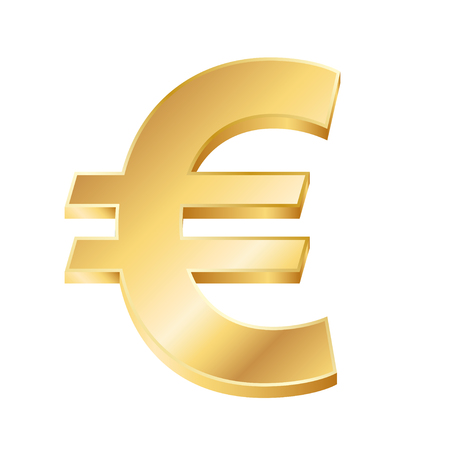 vector illustration of a golden euro sign on white background. EPS