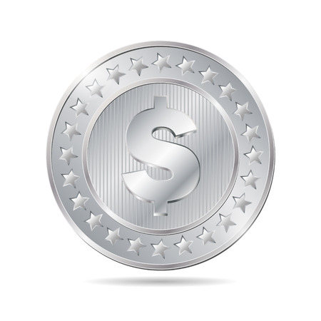vector illustration of a silver coin on white background. EPS