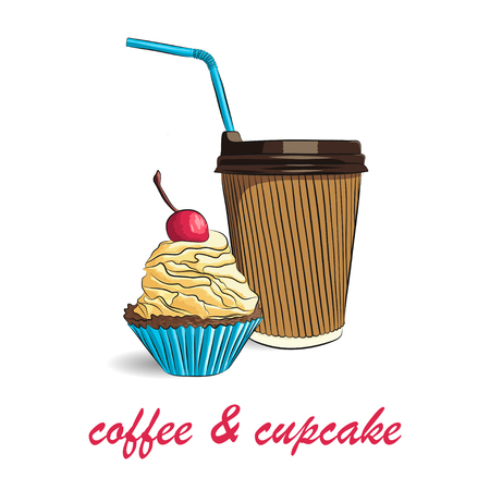 vector illustration of cupcake with cherry and coffee cup. EPS