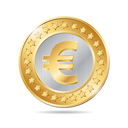 penny: vector illustration of a coin with euro sign. EPS
