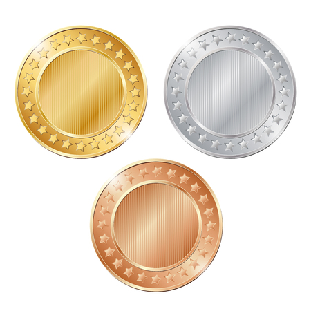 vector illustration of three blank coins on white background. EPS Illustration