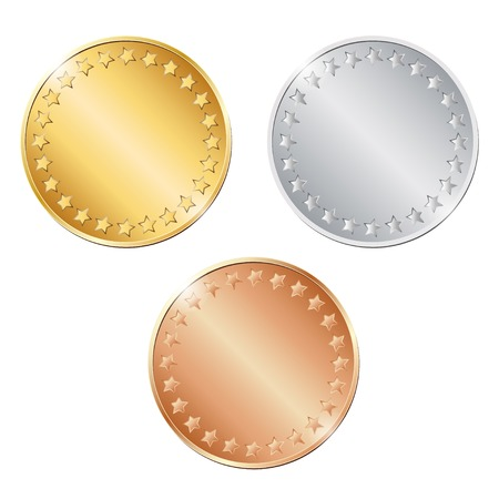 penny: vector illustration of three blank coins on white background. EPS Illustration