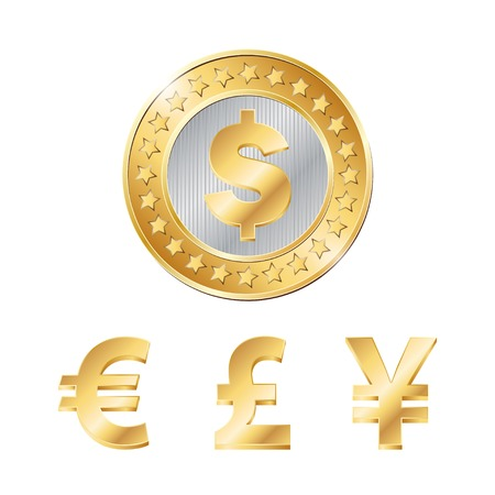 vector coin with dollar, euro, pound and yen signs. EPS