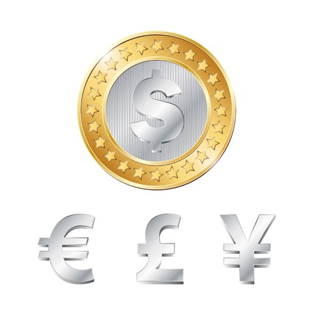 penny: vector coin with dollar, euro, pound and yen signs. EPS