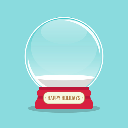 vector illustration of empty snowglobe with happy holidays inscription. EPS Illustration