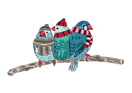 vector cute birds warm dressed and sitting on trees. EPS