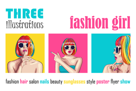 vector set of three beautiful women wearing colorful wig and white sunglasses. EPS