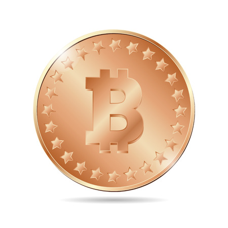 vector illustration of a bronze coin with bitcoin sign. EPS