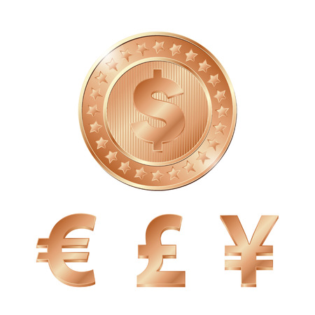 vector bronze coin with dollar, euro, pound and yen signs.