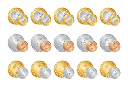 gold and silver coins: vector illustration of gold, silver and bronze coins. Illustration