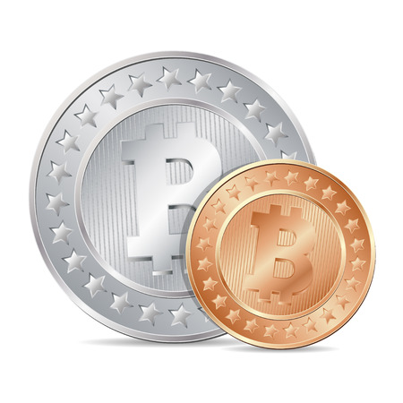 vector illustration of two coins with bitcoin sign. EPS