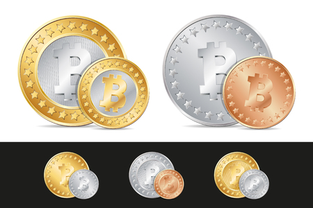 gold and silver coins: vector gold, silver and bronze bitcoin coins. EPS