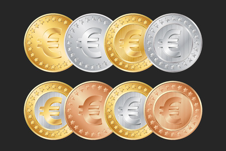 vector gold, silver and bronze euro coins. EPS