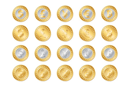 vector illustration of gold and silver coins. EPS