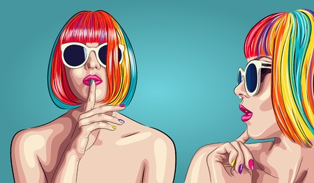 vector beautiful woman wearing colorful wig and white sunglasses. EPS