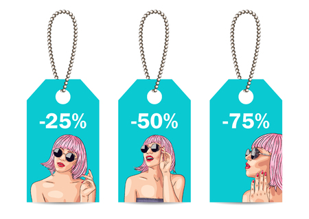 face off: Sale tags with woman wearing pink wig. Illustration