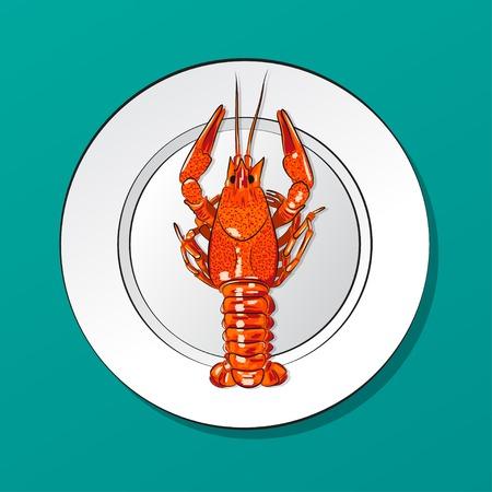 crawfish: Illustration of lobster on plate. Illustration