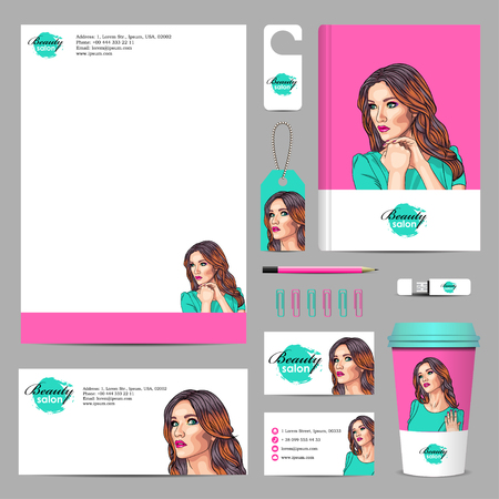 wigs: Business corporate mock-up with woman having vivid make-up. Illustration