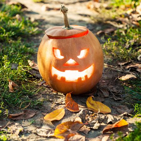 halloween jack-o-lantern standing on path