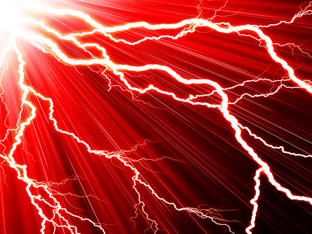 Electric flash of lightning on a red background
