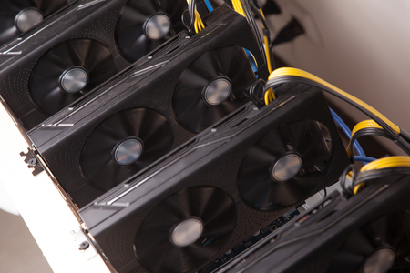 Computer for ethereum mining, close up image Stock Photo