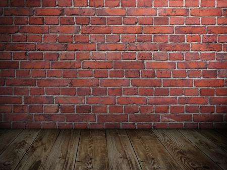 Lege grungy stonewall met schijnwerpers en houten vloer Stockfoto