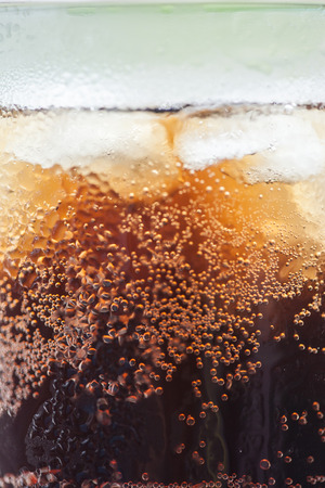 cola with ice cubes close up image Stock Photo