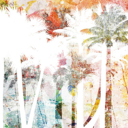 tropical palm grunge background with scratches and stains Reklamní fotografie