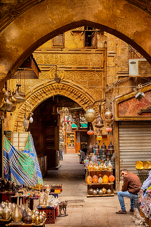 Cairo, Egypt - Feb 19 2018: Lamp or Lantern Shop in the Khan El Khalili market in Islamic Cairo