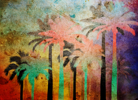 tropical palm grunge background with scratches and stains