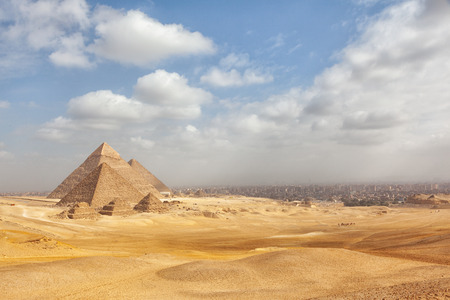 Egypt Cairo - Giza. General view of pyramids