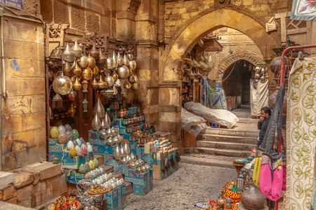 Cairo, Egypt - Feb 02 2019: Lamp or Lantern Shop in the Khan El Khalili market in Islamic Cairo