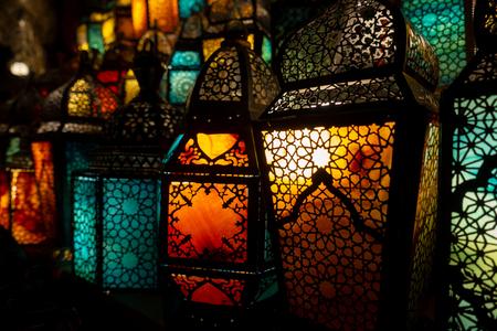 lighting with colors on muslim styles lantern shining