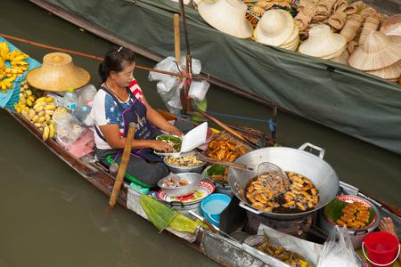 Bangkok. DAMNOEN SADUAK, - JAN 31, 2019: Damnoen Saduak the famoust floating market near Bangkok in Ratchaburi province, Damnoen Saduka Floating market the most famoust floating marken near by Bangkok Area