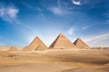Egitto Cairo - Giza. Vista generale delle piramidi