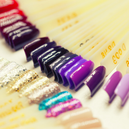 collection of color nail polish samples Stock Photo