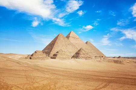 Egipto El Cairo - Giza. Vista general de las pirámides.